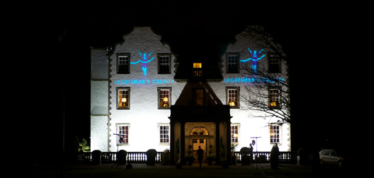Prestonfield House Hotel with Sportsmans Charity lighting